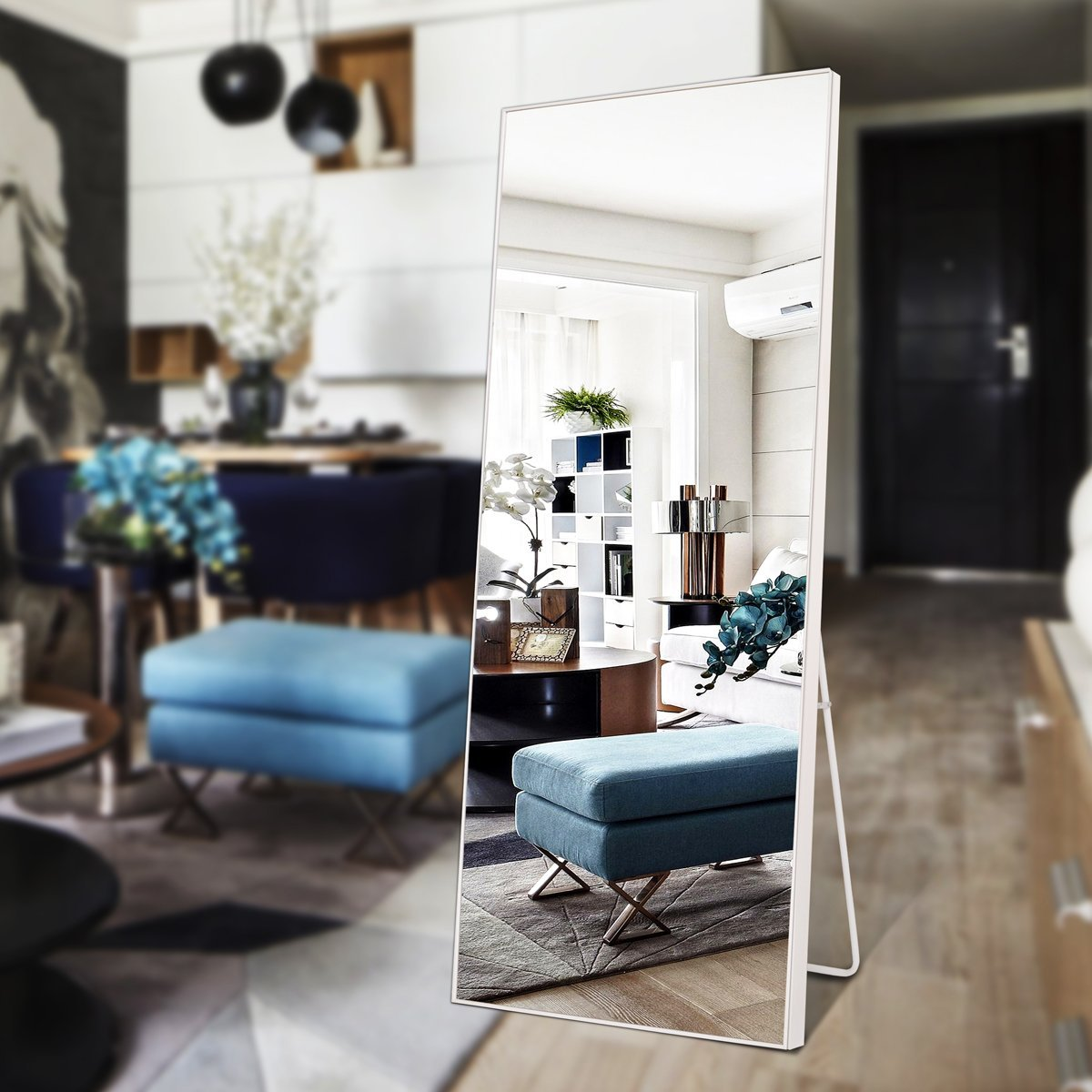 "703E Solid Wood Frame Full Length Floor Mirror Bedroom Dressing Standing Mirror, 65""x22"" (Black)... by 703E"