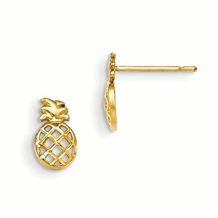 14k Yellow Gold Childrens Pineapple Post Stud Earrings Food Drink For Women