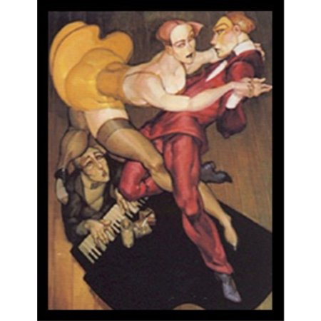 Buyartforless Framed Tango Over The Piano By Juarez Machado 19X25 Art Print Poster Abstract Figurative Painting Man And Woman Dancing On Piano Sexy Yellow Dress Red Suit