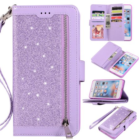 Zipper Wallet Case for iPhone 6S Plus iPhone 6 Plus 5.5-inch, Allytech Bling Glitter Leather Case with 9 Credit Card Holder Flip Magnetic Closure Stand Cover with Cash Pocket and Hand Strap,