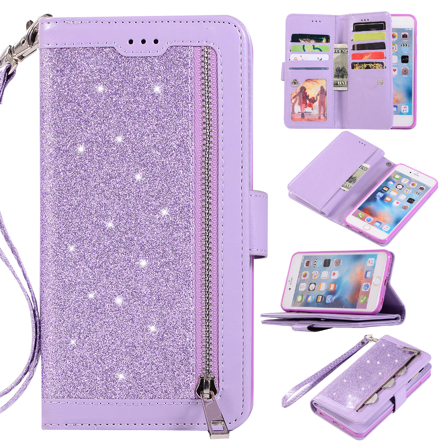 Zipper Wallet Case for iPhone 6S Plus iPhone 6 Plus 5.5-inch, Allytech Bling Glitter Leather Case with 9 Credit Card Holder Flip Magnetic Closure Stand Cover with Cash Pocket and Hand Strap, Purple