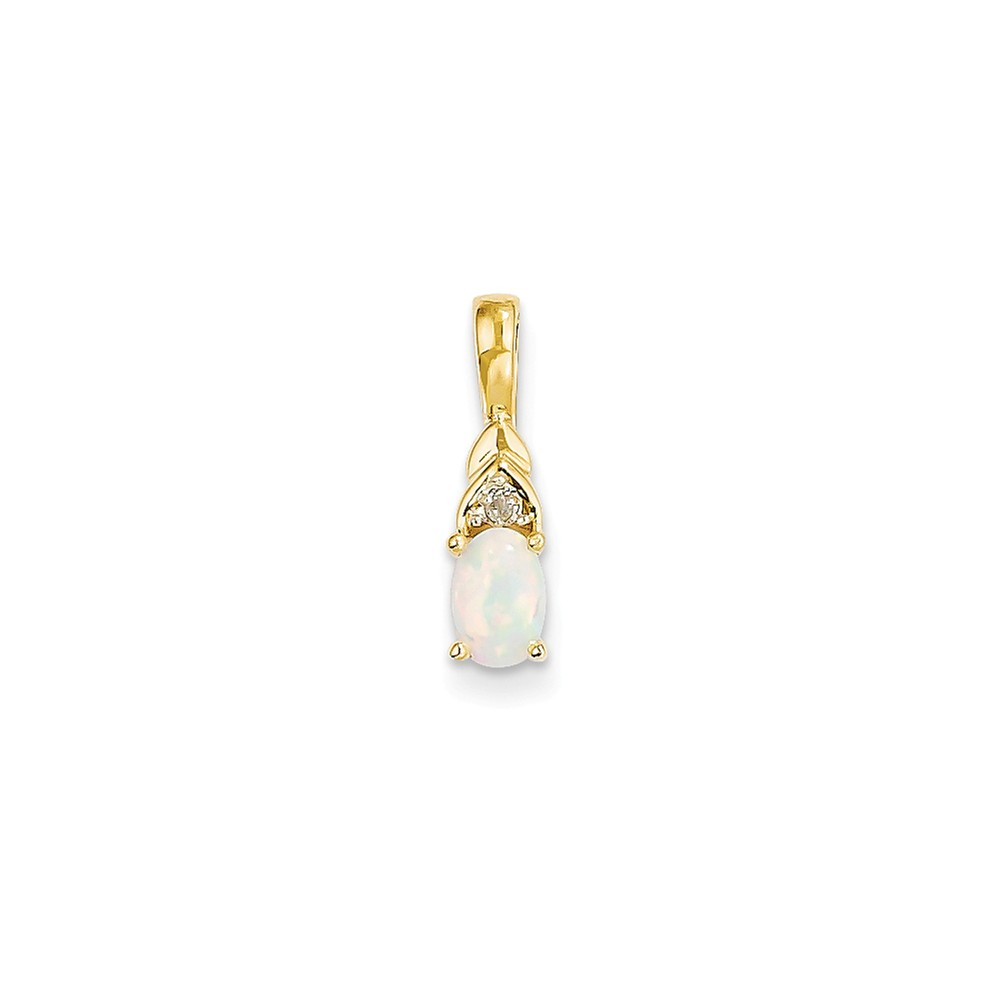14K Yellow Gold White Opal and Diamond Prong Set Oval Charm Pendant by