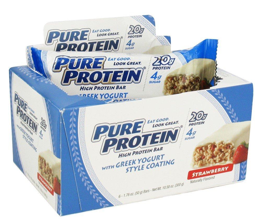 Pure Protein - High Protein Bar with Greek Yogurt Style Coating Strawberry - 6 x 1.76 oz. Bars