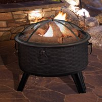 Pure Garden Fire Pit Set, 26 in. Steel, Round Woven Design, Black with Bronze Accents
