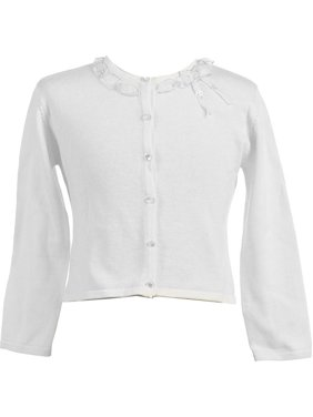 2837247c8 Product Image Girls White Ruffle Adorned Neckline Cardigan 8-12