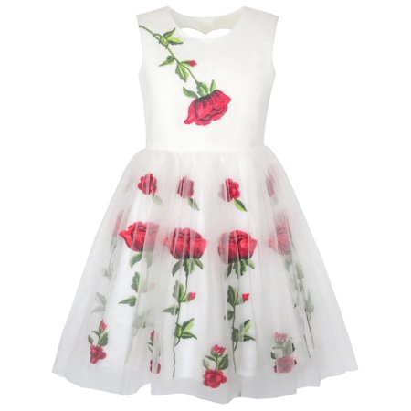 Girls Dress White Rose Flower Embroidery Heart Shape Back Wedding 7 - Size 7 Girls Dresses