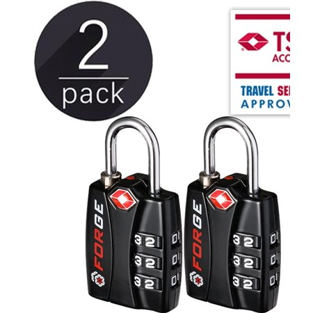 76f0d37ba678 New Forge TSA Approved Luggage Locks - 2 Pack - Lifetime Warranty, Open  Alert Indicator, Alloy Body, Hardened Steel Shackle