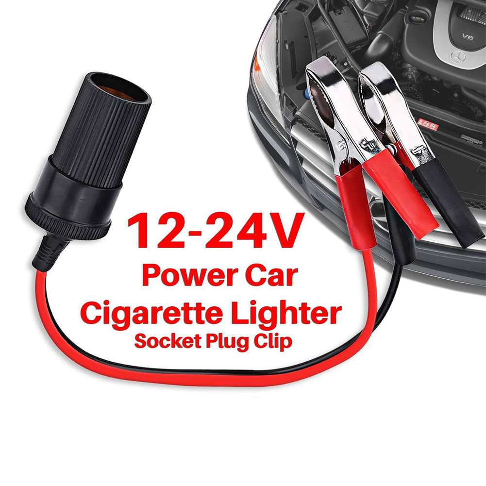 Car Cigarette Lighter Socket 12V Portable Power Plug Adapter with Crocodile Clip