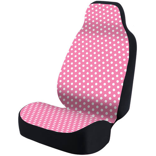 Coverking Universal Seat Cover Fashion Print, Ultra Suede, Polka Dots White and Pink Background with Black Interlock Backing