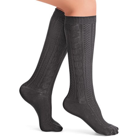bb238789c Collections Etc. - Cable Knit Knee High Socks - Set of 4 Different Colors