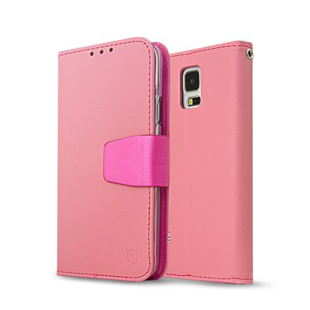 [REDShield] Baby Pink/ Iridescent Hot Pink Samsung Galaxy S5 Smooth Wallet Case Cover [PU/ Faux Leather]