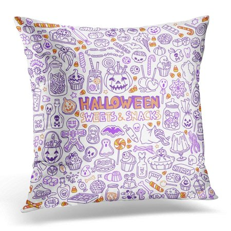 Kid Friendly Halloween Drinks (ARHOME Candy Halloween Candies Sweets Snacks and Drinks for Trick Treating Kids Party Table Pillow Case Pillow Cover 20x20)