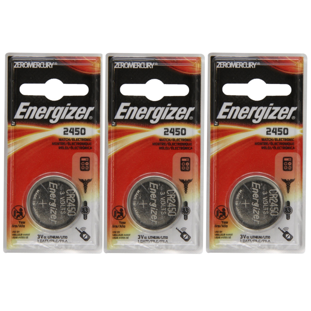 3 Pack Energizer CR2450 ECR2450 CR 2450 3V Lithium Coin Cell Button Battery by