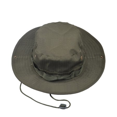 Opromo Fishing Bucket Boonie Hat Summer Sun Cap Outdoor Hat with Side Chin Cord-Army Green