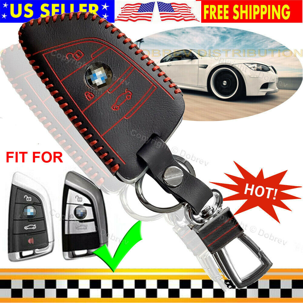 Dobrev Genuine Leather Car Key Fob Cover Holder Protector