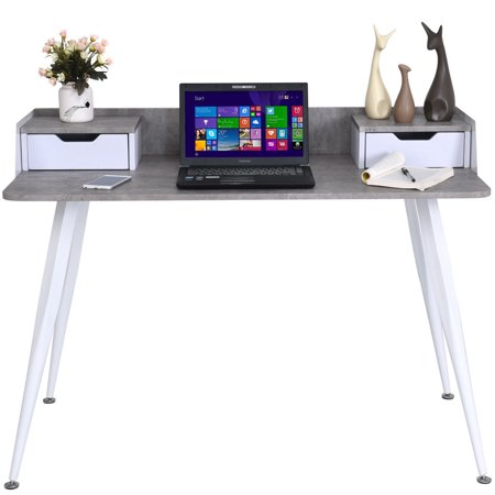 Study Writing Computer Desk PC Laptop Table w/ 2 Drawers Home Office Furniture - image 2 de 8