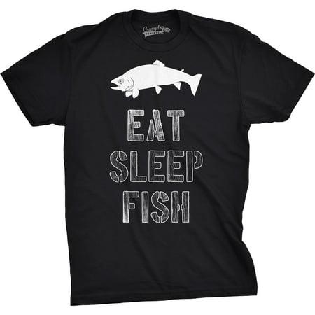 Crazy Dog Tshirts   Mens Eat Sleep Fish T Shirt Funny Vintage Fishing Outdoors Tee