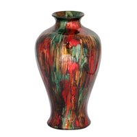 """23"""" Foiled & Lacquered Ceramic Floor Vase - Ceramic, Lacquered In Red, Brown And Green"""