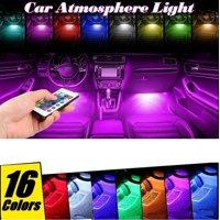4PCS 9 LED Car Interior Atmosphere Neon Lights Strip Wireless IR Remote Control