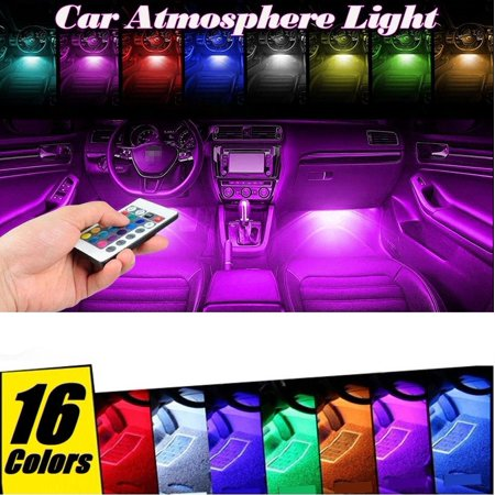 4PCS 9 LED Car Interior Atmosphere Neon Lights Strip Wireless IR Remote Control