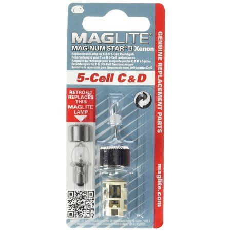 Maglite Replacement Lamp for 5-Cell C & D Flashlight, 1 pk, Xenon Lamp By (Maglite Magnum Star Xenon Lamp)