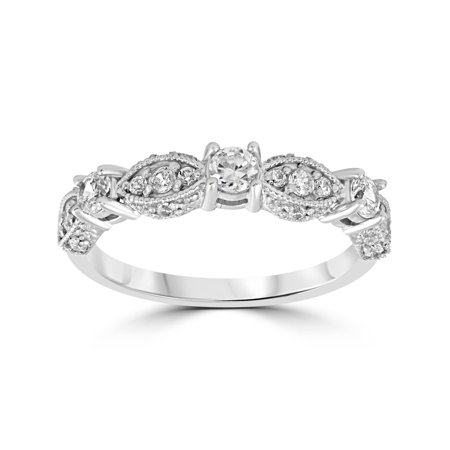 1/2ct Vintage Diamond Wedding Ring 14K White Gold Womens Art Deco Stackable Band Signature Deco Diamond