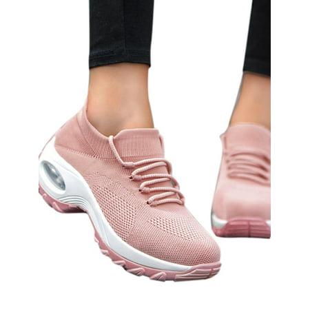 Pink Platform Shoes - DYMADE Women's Lace-up Mesh Walking Shoes Women Fashion Sneakers Comfort Wedge Platform Loafers