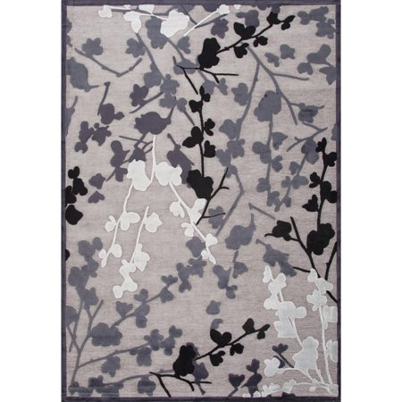 9 39 x 12 39 gray black and white enchanted transitional area throw rug. Black Bedroom Furniture Sets. Home Design Ideas