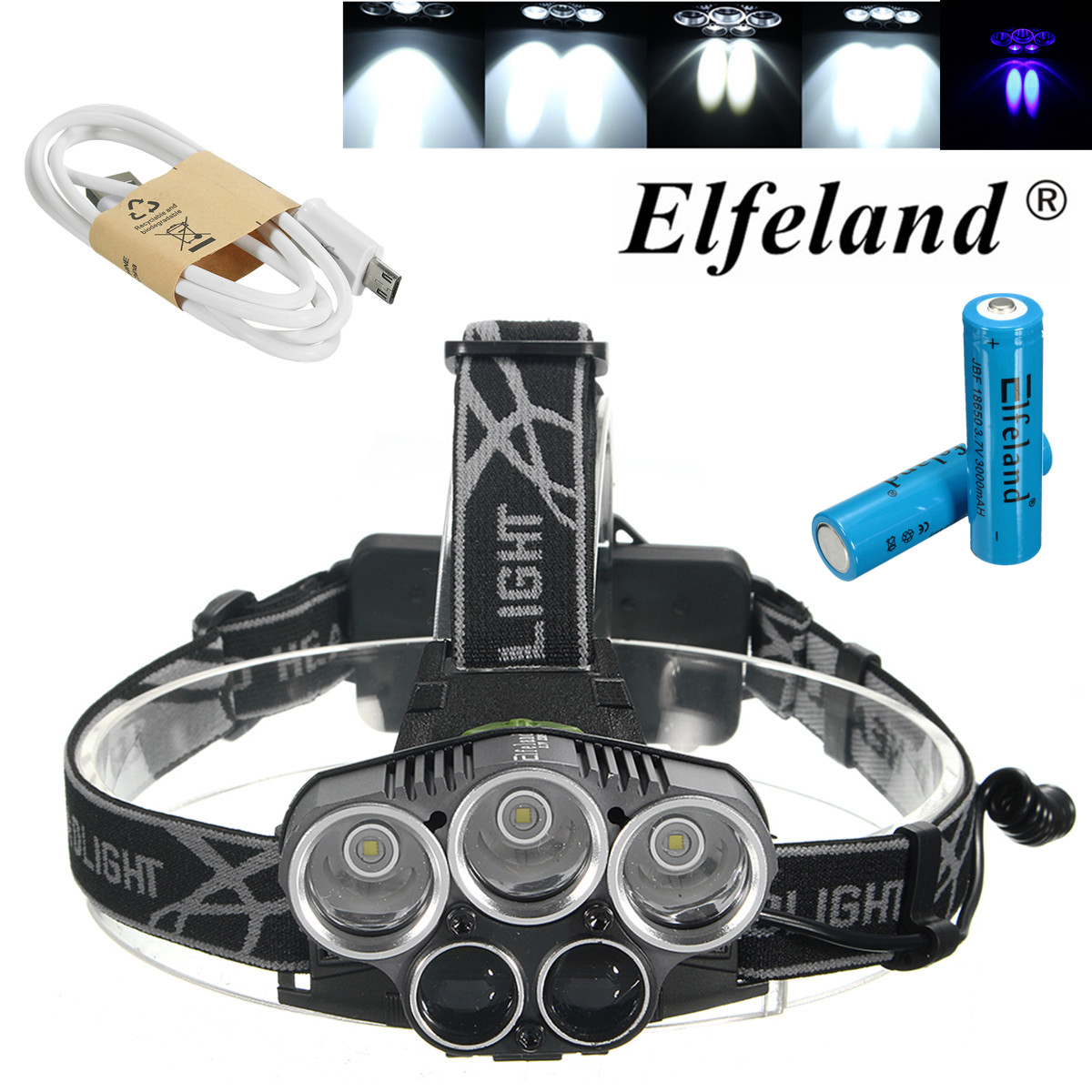 Elfeland T6 LED Rechargeable Headlamp Headlight Flashlight Torch Waterproof 6 Modes with Rechargeable Batteries and USB Cable For Hiking Camping Riding Fishing