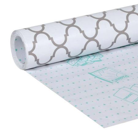 Duck Brand Adhesive Peel And Stick Laminate  20  X 12  Grey Quatrefoil