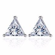 Fashion Exquisite Triangle CZ Pierced Crystal Zircon Stud Earrings