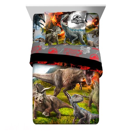 World Twin Hugger - Universal Jurassic World 2 'Eruption' Dinosaurs Twin/Full Reversible Comforter Set with Sham
