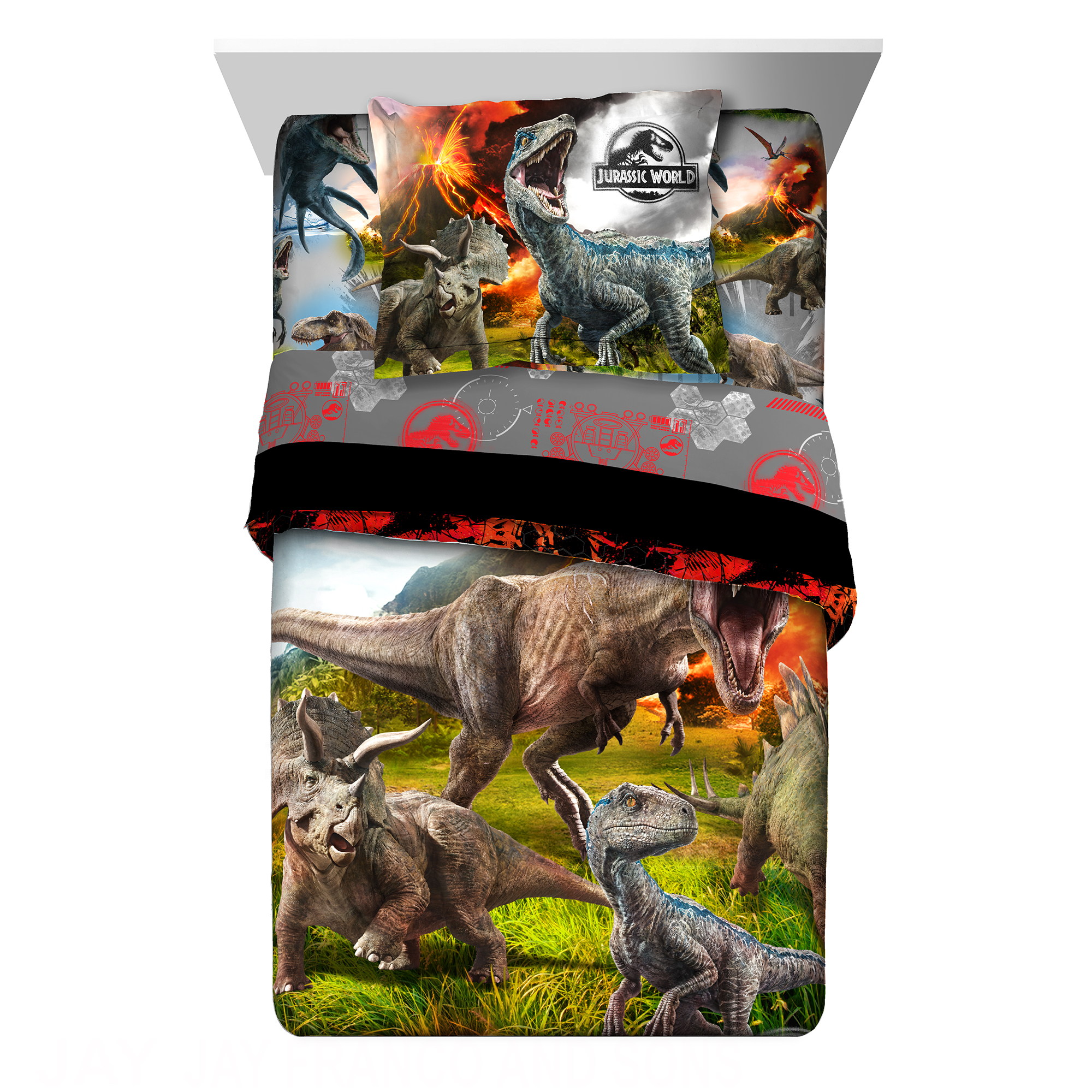 Universal Jurassic World 2 'Eruption' Kids Bedding Twin or Full Comforter with Sham, 2 Piece
