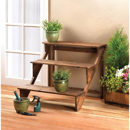 Decorative Wood Step Ladder Plant Stand or 3 Shelf Display Rack for Garden Decor & Sun Room Flower Pots and Collectibles by Home 'n (Best Plants For Screened Porch)