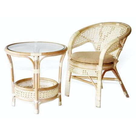 Pelangi Lounge Set Of Round Coffee Table And Natural Rattan Wicker