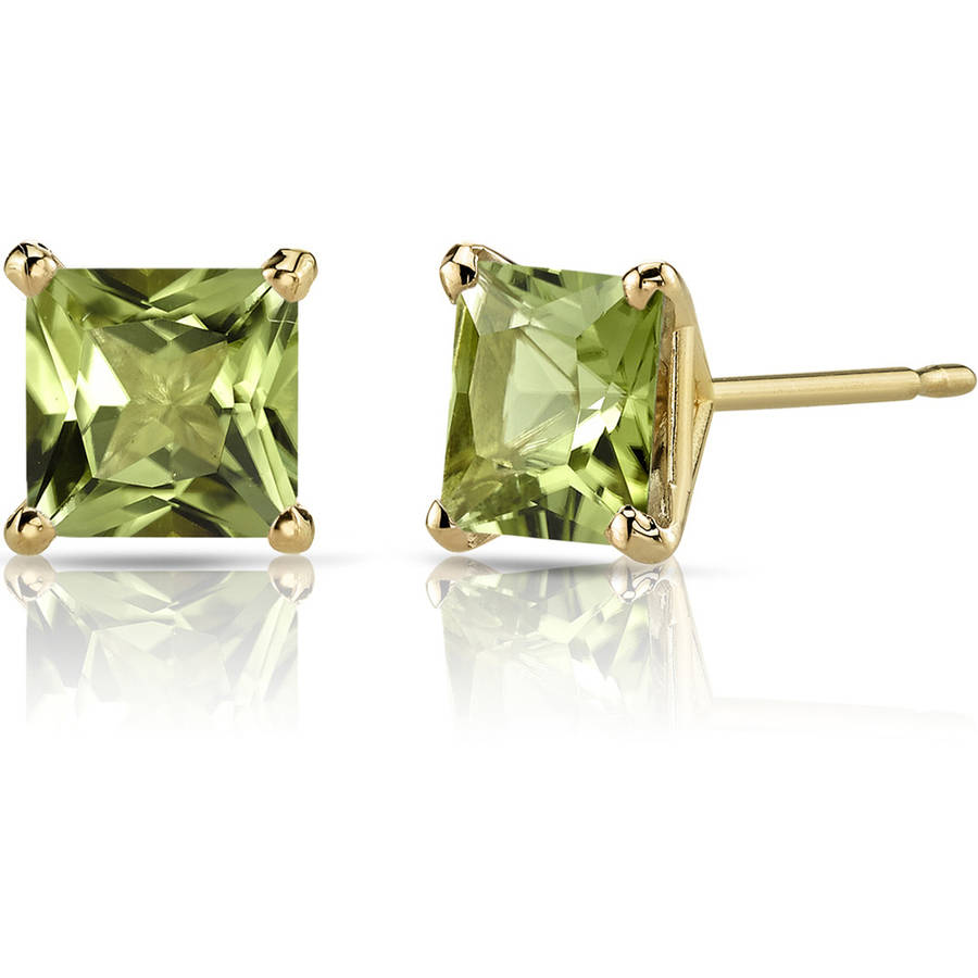 Oravo 2.00 Carat T.G.W. Princess-Cut Peridot 14kt Yellow Gold Stud Earrings