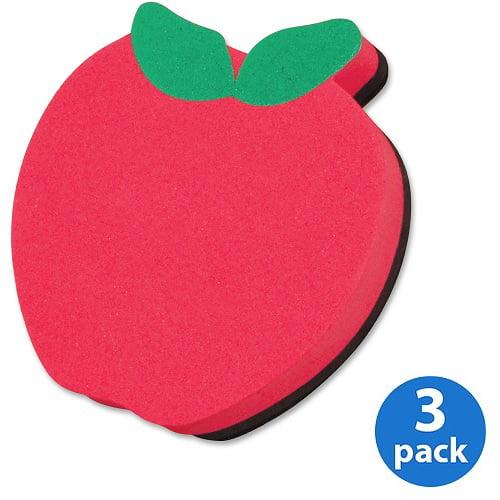 (3 Pack) Ashley, ASH10020, Apple Design Magnetic Whitebrd Eraser, 1 Each, Red