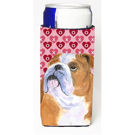 Carolines Treasures SS4491MUK Bulldog English Hearts Love Valentines Day Michelob Ultra bottle sleeves For Slim Cans - 12 oz. - image 1 of 1