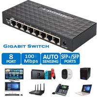 10/100/1000Mbps Full-Duplex Switch, 8 Port Gigabit Switch HUB LAN Gigabit Ethernet Desktop Network Switches