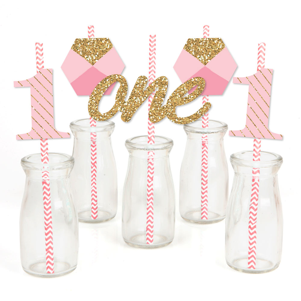 1st Birthday Girl - Fun to be One - Paper Straw Decor - First Birthday Party Striped Decorative Straws - Set of 24