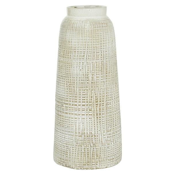 "Decmode White Terra Cotta Vase, 7.5""W X 17""H"