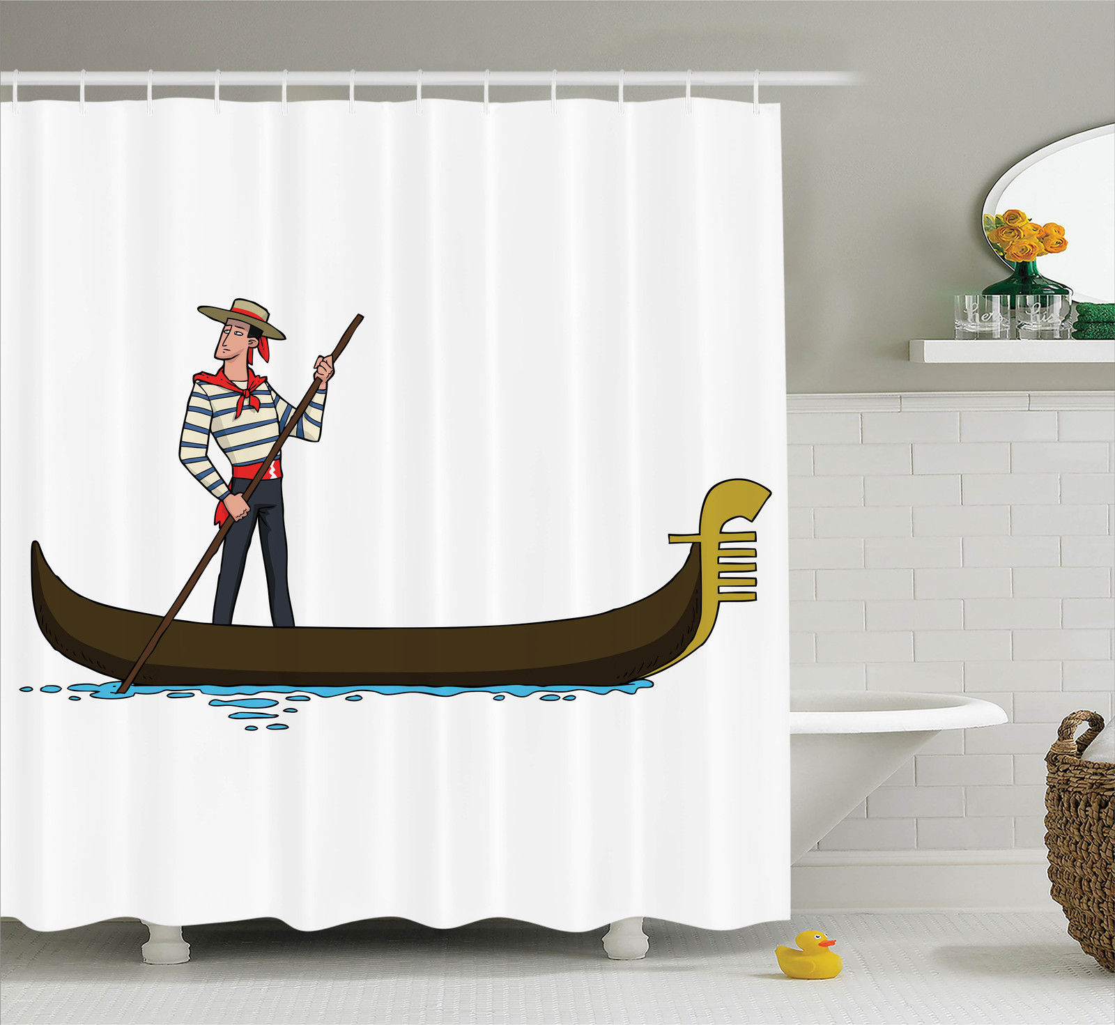 Cartoon Decor Shower Curtain Set, Illustration Of Gondola In Romance City Venice European Symbol Of Love Italian Decor, Bathroom Accessories, 69W X 70L Inches, By Ambesonne