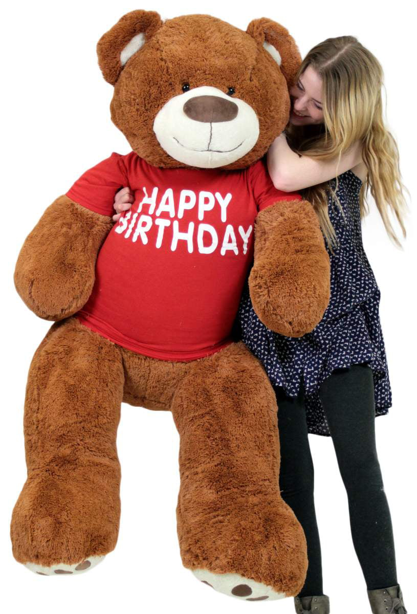 Happy Birthday 5 Foot Big Plush Giant Teddy Bear Soft Cinnamon Color Wears Tshirt by BigPlush