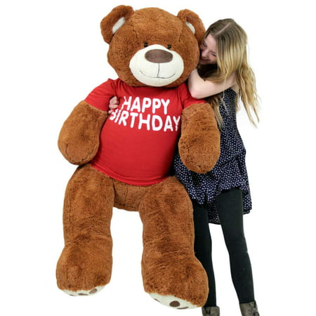 - Happy Birthday 5 Foot Big Plush Giant Teddy Bear Soft Cinnamon Color Wears Tshirt