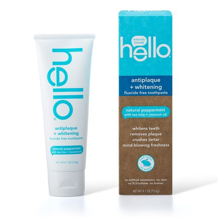 Hello Fluoride Free Antiplaque and Whitening Toothpaste, Vegan & SLS Free, Natural Peppermint with Tea Tree Oil & Coconut Oil, 4.7oz Antiplaque Plus Whitening Gel Toothpaste