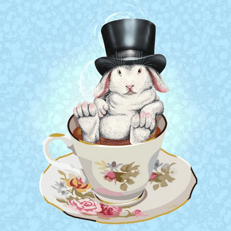 Rabbit Hole Funny Bunny in Teacup w/ Top Hat - Vinyl Sticker (Funky Hats For Sale)