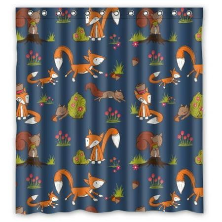 DEYOU Cute Fox And Squirrel Shower Curtain Polyester Fabric Bathroom Size 66x72 Inch