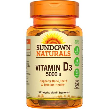 Sundown Naturals Vitamin D3 Vitamin Supplement Softgels, 5000 IU, 150 count