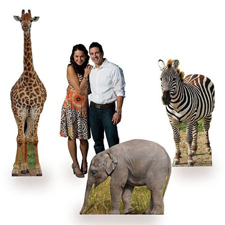 Safari Animal Jungle Party Cardboard Cutout Props, Set of 3, MADE OF CARDBOARD: Made of Free standing, one sided, cardboard, assembly required By Shindigz