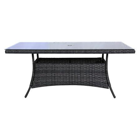 Teva Patio Bora Bora Wicker Rattan Rectangular Patio Dining Table - Rectangular glass top patio dining table